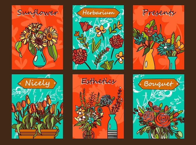 Flowers flyers set. bunches in vases, tulips, roses  illustrations with text on orange and green background.