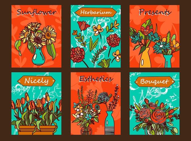 Set di volantini di fiori. mazzi in vasi, tulipani, illustrazioni di rose con testo su sfondo arancione e verde.