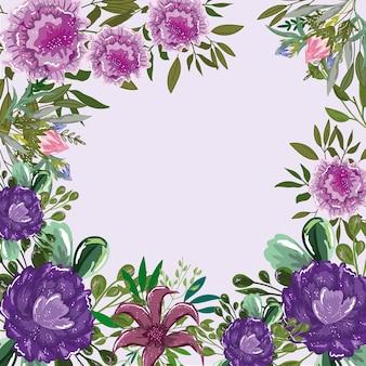 Цветы листва растительность природа шаблон макета, иллюстрация живопись