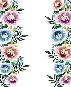 Flowers foliage watercolor decorative background