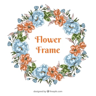 Flowers frame in hand drawn style