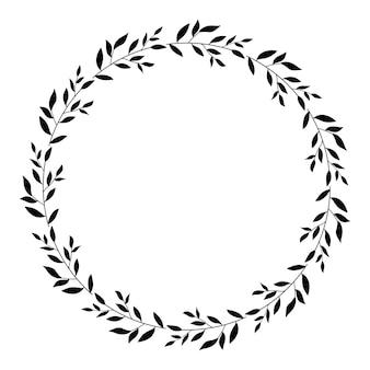 花フレーム花輪葉の花輪丸いフレーム白い背景で隔離