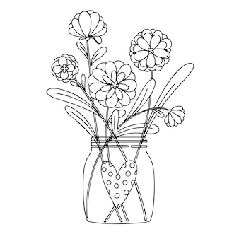 Flowers in a glass jar. bouquet isolated on a white background.  illustration in sketch style.