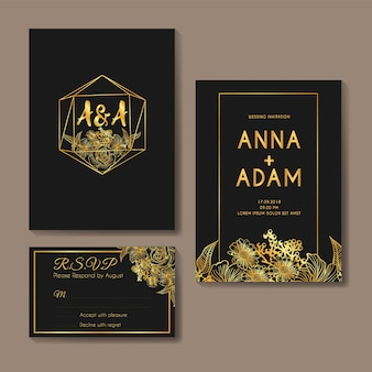 Flowers gold diamond wedding invitation card template design