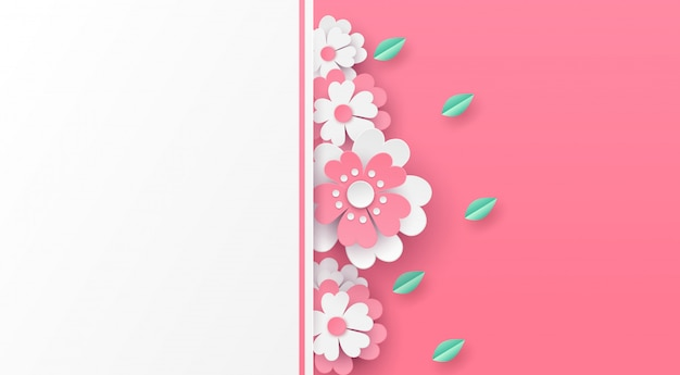 Flowers and green leaf background vector paper art design