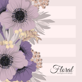 Flowers greeting card template.