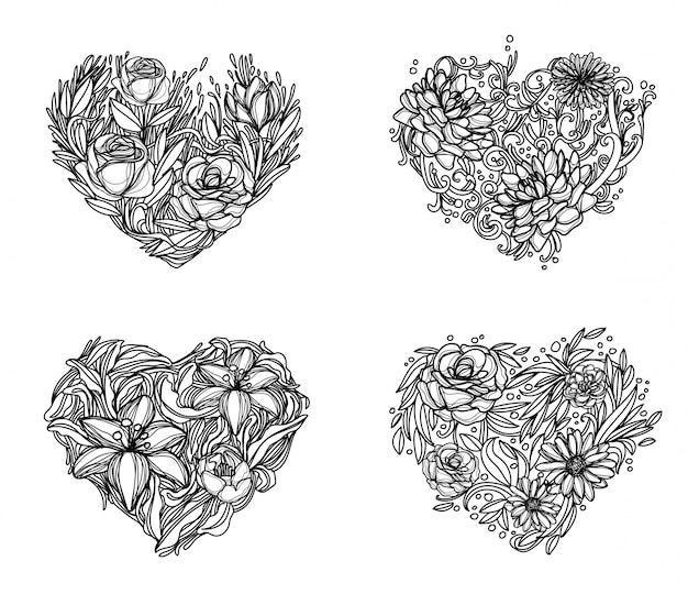 花の手描きと黒と白のスケッチ