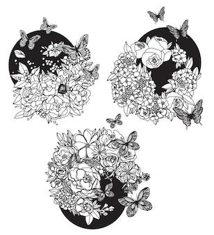 꽃 손 그리기 및 스케치 흑백