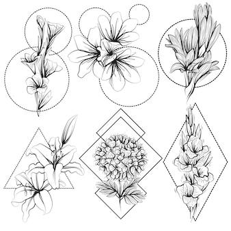 꽃 손 그리기 스케치 흑인과 백인