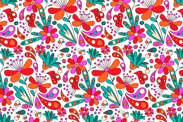 Flowers hand drawn groovy pattern