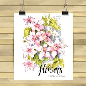 花の手描きのベクトルカード