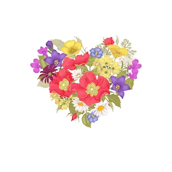 Flowers and heart.