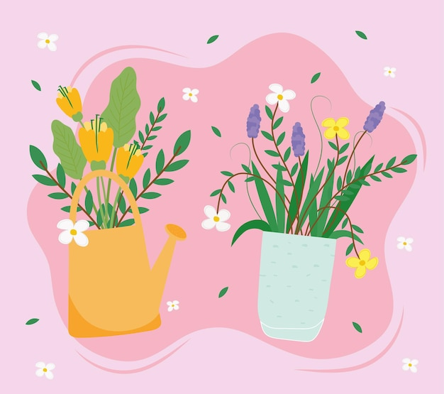 Цветы комнатные растения в керамических горшках иллюстрации