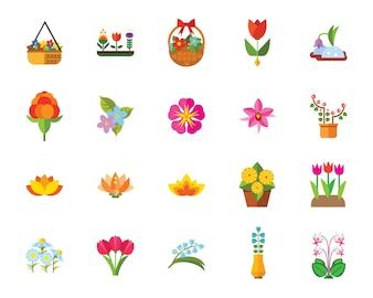 Flowers icon set