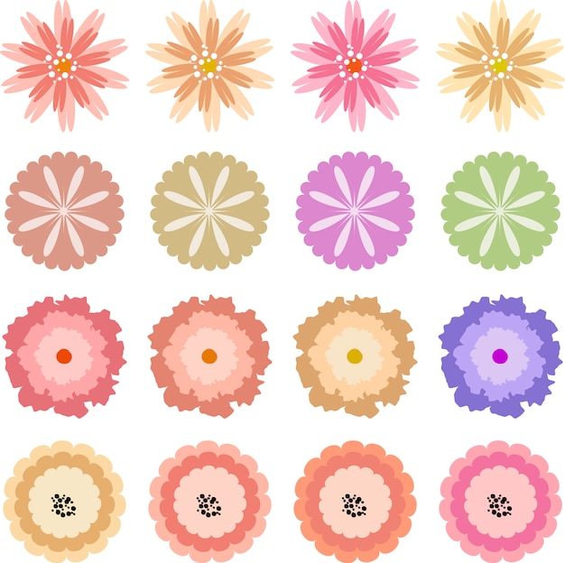 Flowers icon set