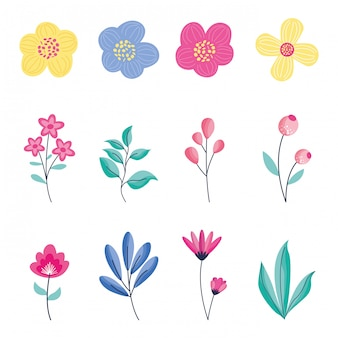 Flowers icons set