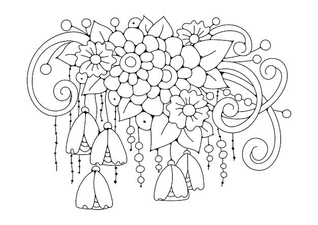 Цветы иллюстрация для хобби раскраски