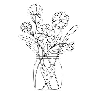 ガラスの瓶に花。白い背景で隔離の花束。スケッチスタイルのイラスト。