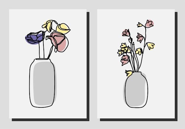 꽃병 한 줄 연속 라인 아트 세트 프리미엄 벡터의 꽃