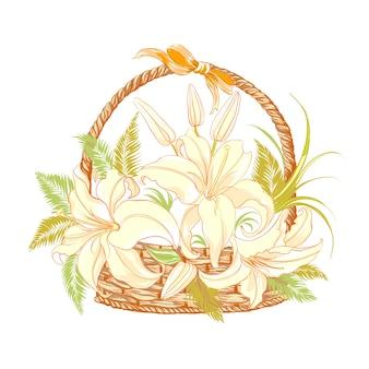 Flowers in basket.