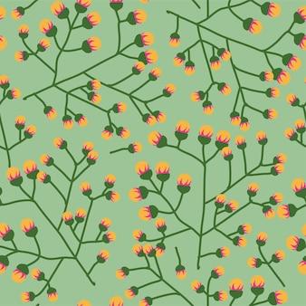 カードやギフトラッピングのために緑の背景に咲く花。洋服の花柄。詳細な春の花、エレガントでシンプルなフェミニンな繁栄の芽。シームレスなパターン、フラットスタイルのベクトル