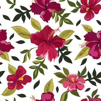 花、赤いユリと緑の葉のシームレスなパターンの花