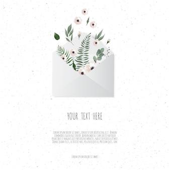 흰색 배경에 봉투에 꽃입니다. 프리미엄 벡터