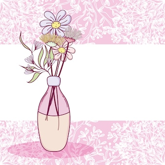 Flowers in glass jar purple and white card