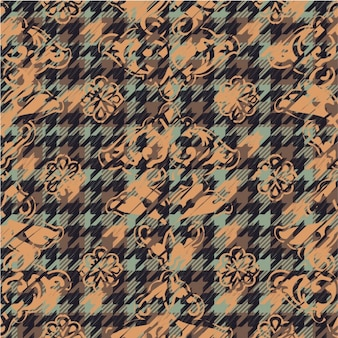 Flowers in houndstooth pattern