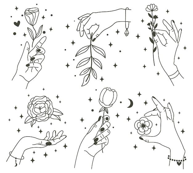 魔法の手に花。美しい花を持っているトレンディな線形ミニマルスタイルの手。