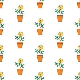 흰색 배경에 냄비 원활한 패턴에 꽃입니다. 식물 꽃 테마 그림