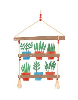 냄비 평면 벡터 일러스트 레이 션에 꽃입니다. 식물을 위한 교수형 선반. 홈 인테리어 디자인 요소, 아늑함 항목입니다. 국내 장식용 식물. 화분 흰색 배경에 고립입니다.