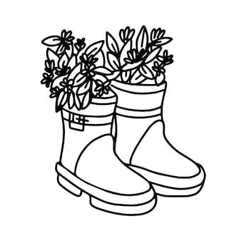고무 장화에 꽃