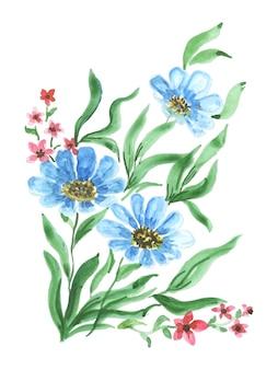 수채화 스타일의 꽃