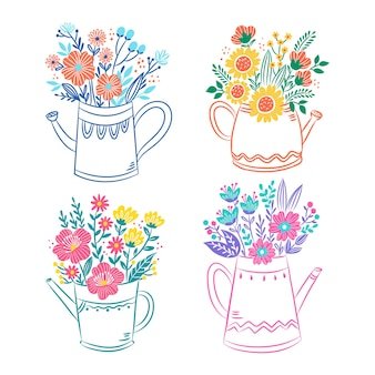 Цветы в лейке иллюстрации