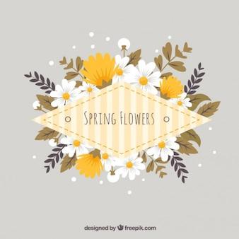 Flowers label in yellow tones