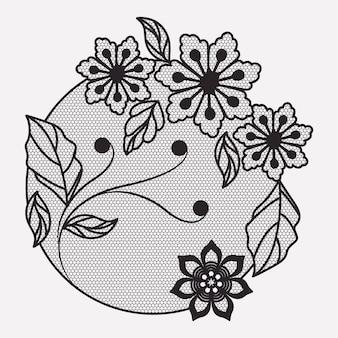 モノクロのシルエットで円形の花のレースの装飾