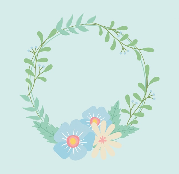 Flowers and leafs crown decorative