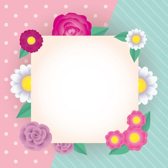 Flowers and leafs decorative square frame