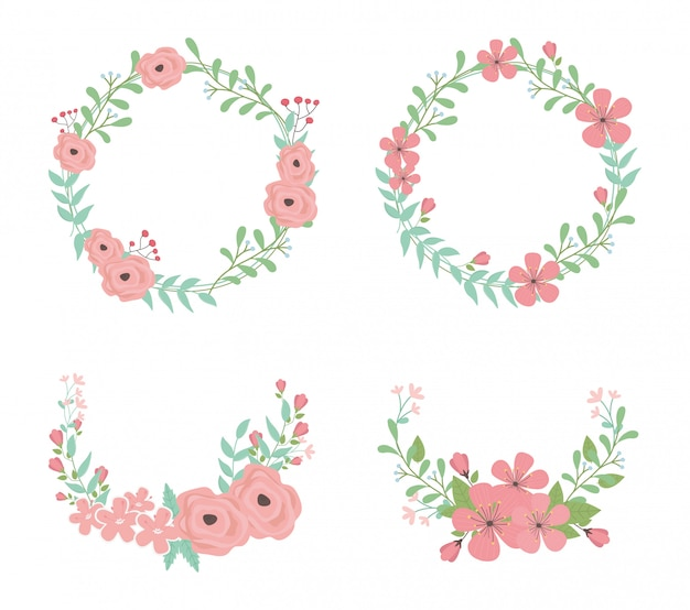 Flowers and leafs wreaths and crowns decorations