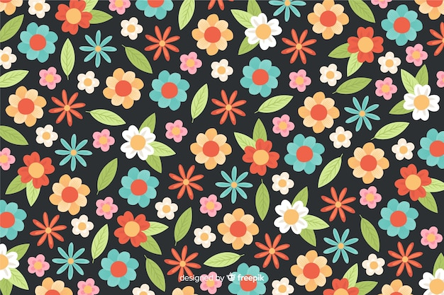 Flowers and leaves background flat style