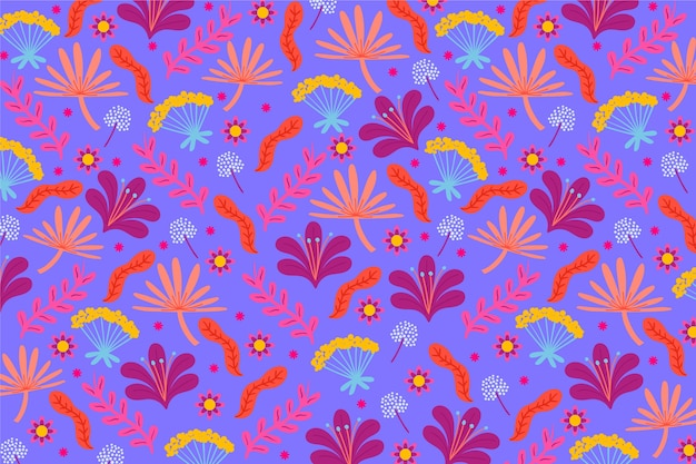 Flowers and leaves colourful ditsy print background