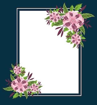꽃 잎 단풍 장식 프레임, 일러스트 페인팅