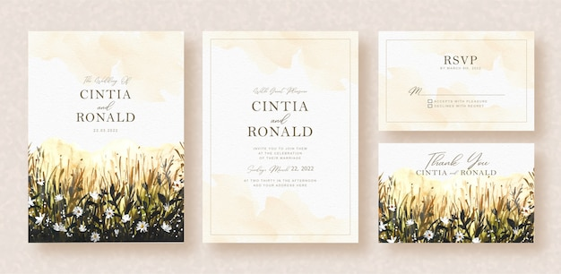 Flowers leaves in garden watercolor background wedding card