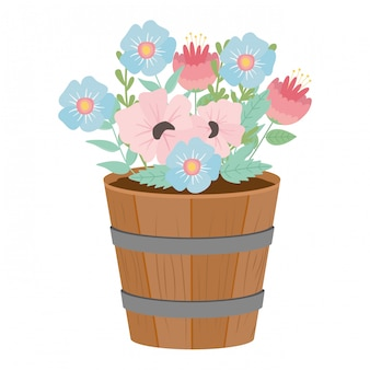 Flowers and leaves inside barrel