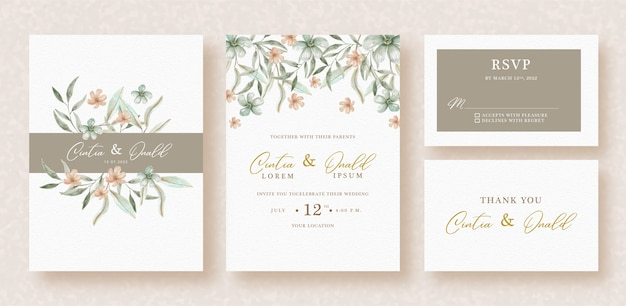 Flowers and leaves watercolor on wedding invitation template
