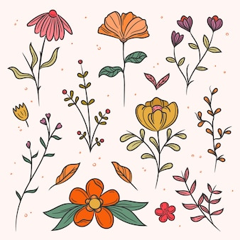 Flowers and leaves with dots design spring collection
