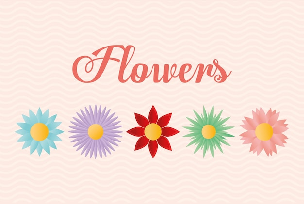 Flowers lettering with set of flowers