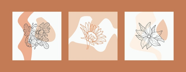 花ラインアート自由奔放に生きるポスターテンプレートコレクション。