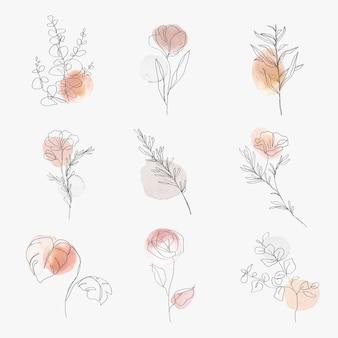 花ラインアート植物水彩ミニマルイラストセット